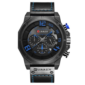 Image 2 - CURREN Luxury Brand Men Military Sport Chronograph Watches Date Quartz Male Clock Leather Strap Wrist watch Montre Homme  Reloj