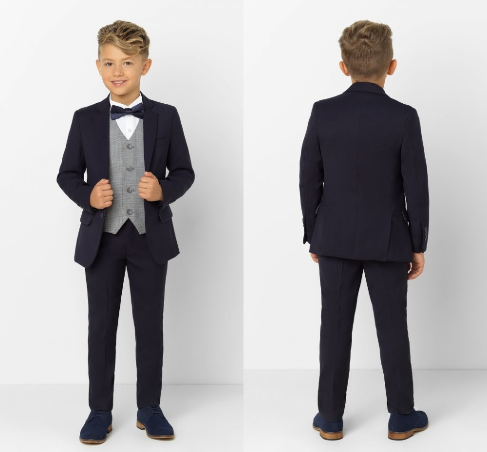 2019 New Arrival Boys' Attire Peaked Lapel Kids Suits Custom Made Clothing Set 3 Pieces Prom Suits (Jacket+Pants+Tie+Vest) 010