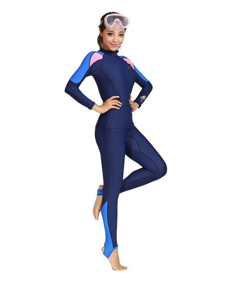 2-piece Scuba Snorkeling Dive Skin UPF50+ UV Sun Protection Twinset Full Body Swim Suit Long Sleeve Crew Rash Guard Swimwear