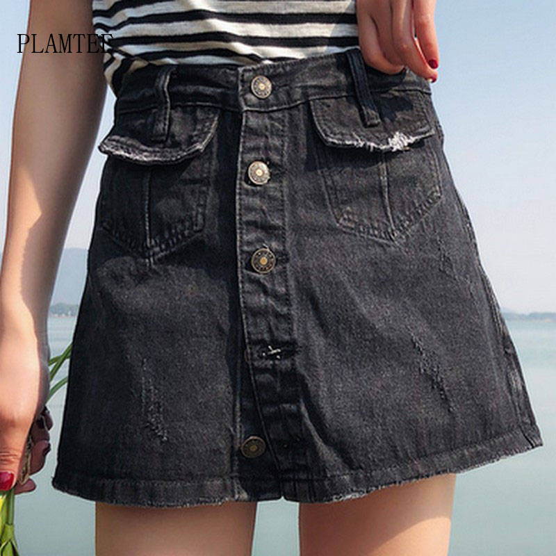 PLAMTEE Single-Breasted Women <font><b>Denim</b></font> <font><b>Skirt</b></font> <font><b>High</b></font> <font><b>Waist</b></font> <font><b>Jeans</b></font> <font><b>Skirts</b></font> Femme Vintage Casual <font><b>Denim</b></font> Short Saias Solid Faldas Mujer image