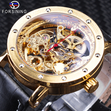 Forsining Luxury Golden Skeleton Watches Black Genuine Leather Openwork Clock Waterproof Mens Automatic Watches Top Brand Luxury forsining brown leather belt golden bezel transparent case steampunk double sided hollow men automatic watches top brand luxury