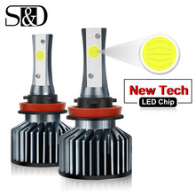 Car Headlight Bulbs LED H1 H3 H27 H7 H11 HB3 HB5 880 9005/HB3 9006/HB4 H4 LED HB1 12V 72W 6000K 12000LM/Pair Lamp Auto Light(China)