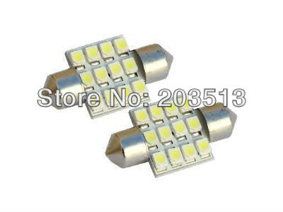 100pcs/lot Car led lamp C5W Festoon 12SMD 12 SMD LED FESTOON 3528SMD 1210 C5W 31MM light HK POST free shipping