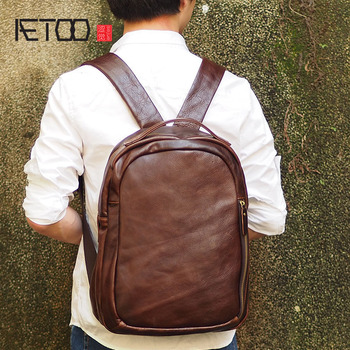 AETOO New wide shoulder strap leather shoulder bag retro oil wax leather male Korean version of the bulk of large-capacity trave