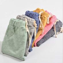 Dziecięce spodnie haremowe bawełniane jednolity wiosenny jesień maluch spodnie dla dzieci ubrania dla dziewczynki spodnie chłopięce tanie tanio Damsko-męskie COTTON 13-24m 25-36m 4-6y CN (pochodzenie) Wiosna i jesień REGULAR NONE Pełna długość Elastyczny pas