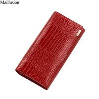 Maillusion Serpentine Hasp Wallets Women Long Design Genius Leather Wallet Female Coin Purse Clutch Wallets Long