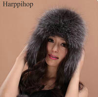 Real Silver fox fur hat men and women ski cap thickened great warm hat HOT princess High Quality real fox fur hat Russian women