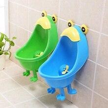 1 PCS Bébé Urinoir Mignon Grenouille Forme Enfants Stand Vertical Urinoir Mural D'urine PP Bleu et Vert