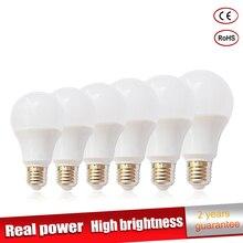 5 шт./лот реальной мощности Светодиодная лампа E27 220 В Светодиодная лампа 3 Вт 6 Вт 9 Вт 12 Вт 15 Вт 18 Вт 21 Вт Luz ampoule Bombillas Светодиодная лампа прожектор