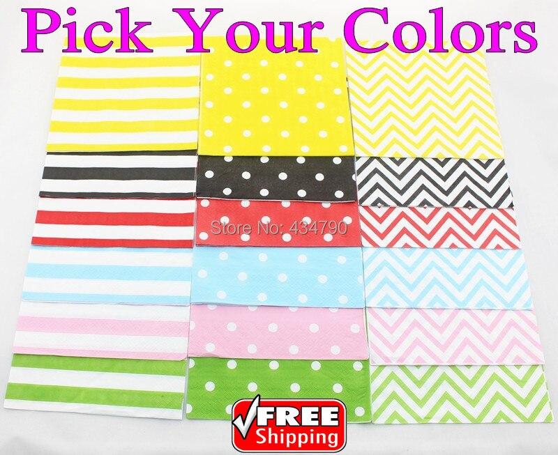 2000pcs Pick Your Colors Wholesale Paper Napkins Black Yellow Red Green Blue Pink Stripe Polka Dot