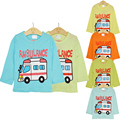 1 - 4 autumn ambulance 100% cotton air conditioning shirt girls clothing baby child long-sleeve male T-shirt basic shirt