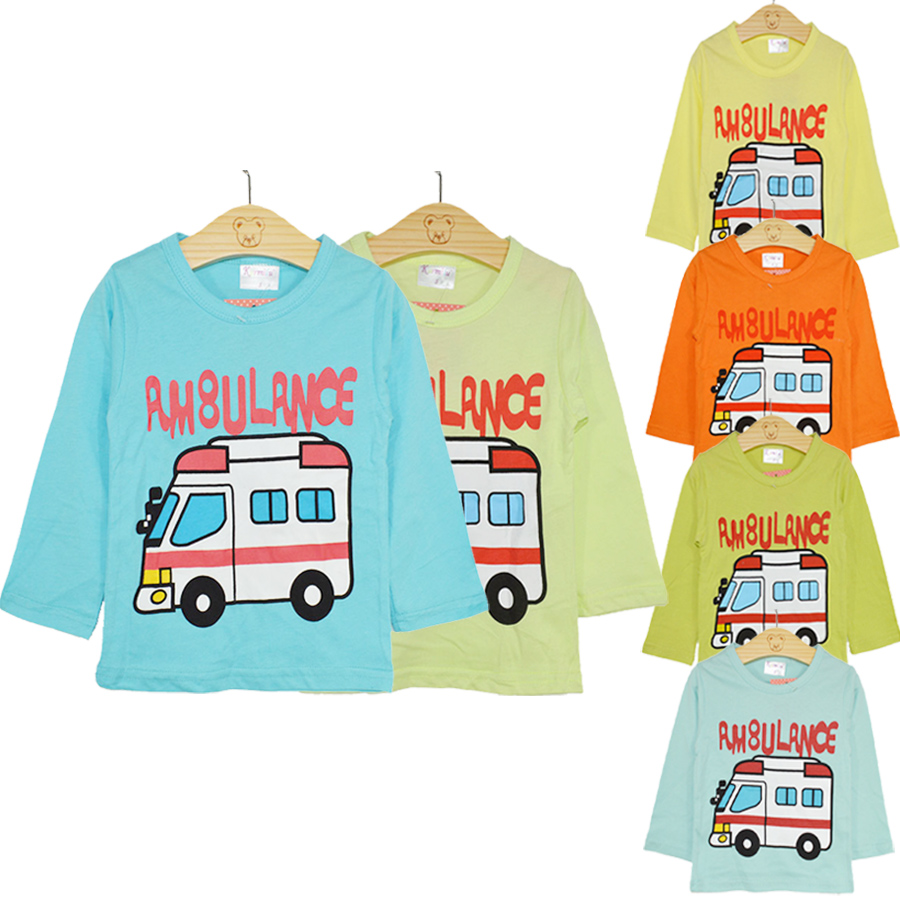 1 - 4 autumn ambulance 100% cotton <font><b>air</b></font> <font><b>conditioning</b></font> shirt girls clothing baby child long-sleeve male T-shirt <font><b>basic</b></font> shirt