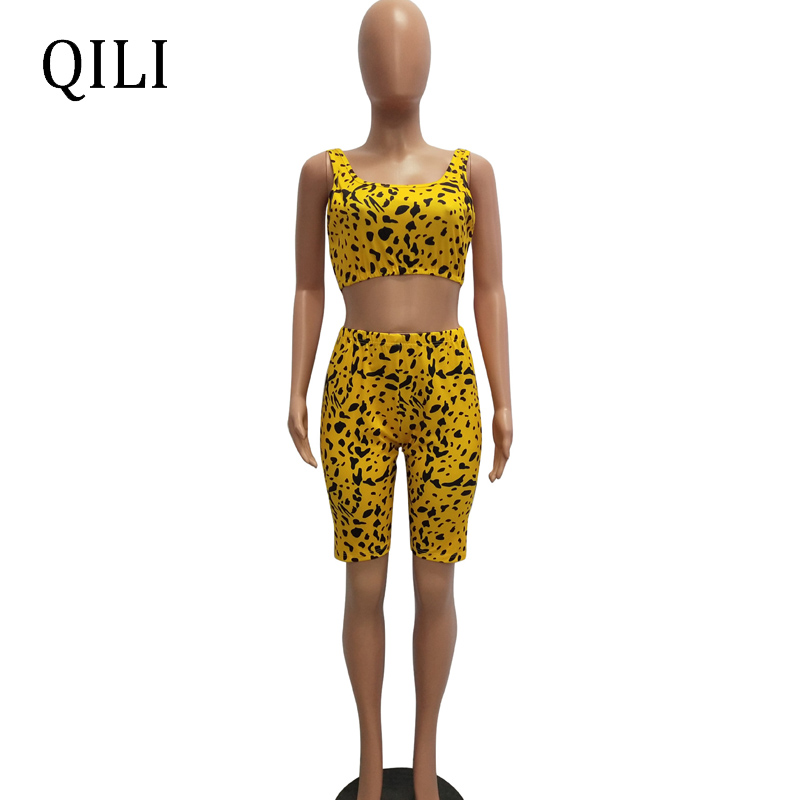 QILI Spot Printed Jumpsuit Women Rompers New Summer Short Tank Two Piece Set Casual Fashion Romper Womens Plus Size Rompers in Rompers from Women 39 s Clothing