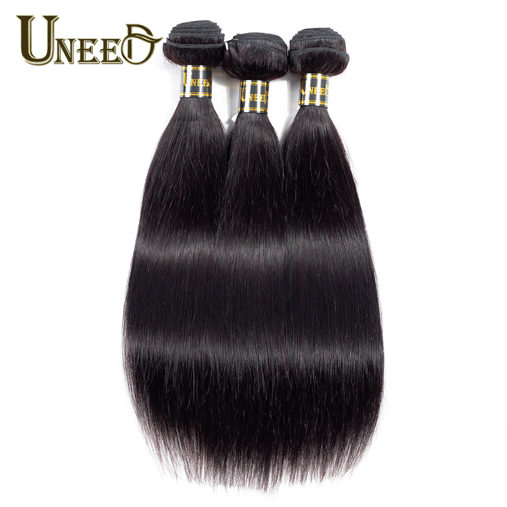 3Pcs/Lot Brazilian Straight Hair Bundles 100% Human Hair Weave Extensions Natural Black Color 8-26inch Remy Hair Double Welf