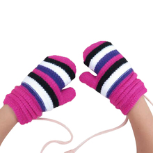 Fashion Winter Baby Girls Striped Gloves With Cord Children Warm Thicken knitted Fingers Covered Mittens Kids Boy Gloves winter