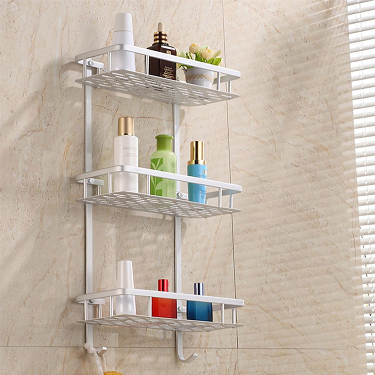 3 tier storage shelf bathroom towel aluminium rack shower caddy kitchen wall mount soap dish. Black Bedroom Furniture Sets. Home Design Ideas