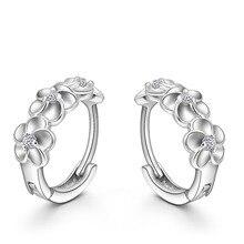 JEXXI Top Sale 925 Sterling Silver Earring Woven Flowers Shape Hoop Earrings CZ Crystal Pretty Earring For Wedding Accessories