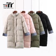 THYY Basic long Cotton Parkas Feminina Stand Collar Korea Style Elegant Winter Warm Women's Jacket Thick Top Quality Special