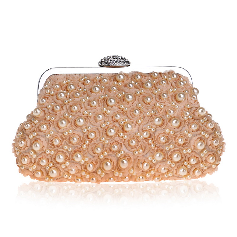 Beaded Evening Clutch with Creative Design for Women, Evening Bag with Beautiful Pearls, Chain Bag цены онлайн