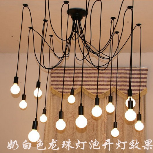 New Retro 12 lights DIY Loft Antique Ceiling Chandelier Pendant with Remote Controller No Edison Bulbs retro edison bulb art spider pendant chandelier vintage loft antique diy e27 ceiling lamp fixture no bulbs ac110 240v