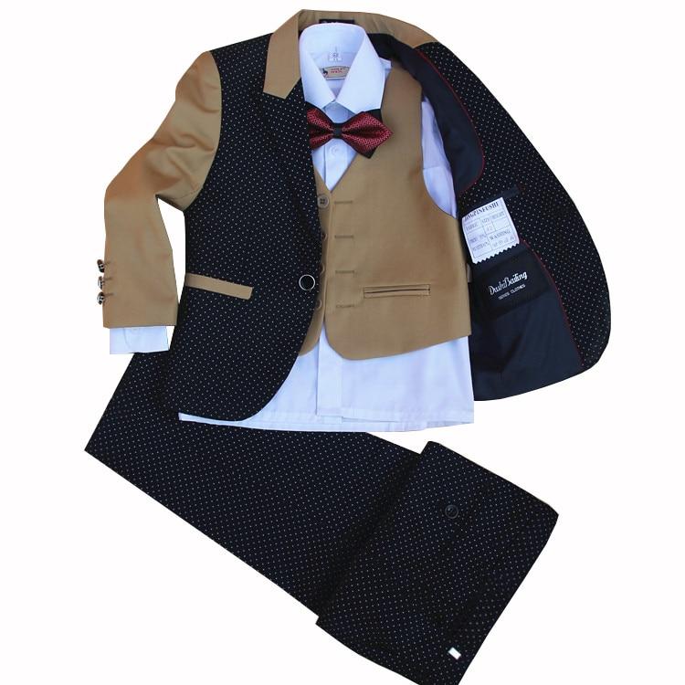 The Little Boy New Children Suit set Flower Boys Dress 4 pieces jacket vest pants bow