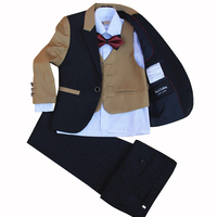 The Little Boy New Children Suit set Flower Boys Dress 4 pieces jacket+vest+pants+bow tie size 2 12 Years no shirts