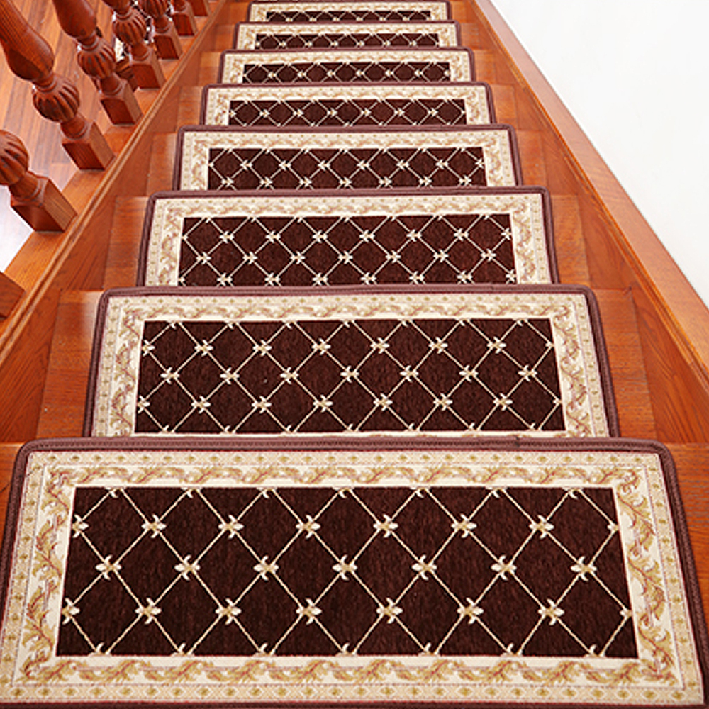 Rubber mats for stairs - Yazi Classic Grid Rectangle Stairs Mat Warm Soft Non Slip Self Adhesive Safe Stair