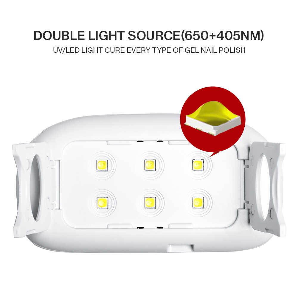 Modelones 6W MINI LED โคมไฟ 6 สีเล็บเจลเล็บชุดโปแลนด์กึ่งถาวร HYBRID GEL Lacquer สมาร์ทเซ็นเซอร์เครื่องเป่าเล็บชุด