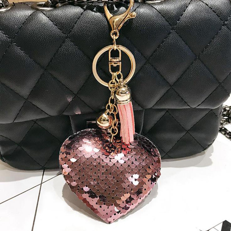 Cute Keychain Glitter Sequins Heart Key Chain Women Llaveros Mujer Car Bag Accessories Key Ring Jewelry Sleutelhanger