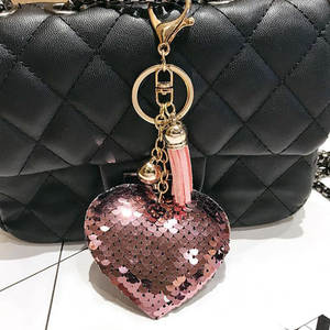 Cute Keychain Jewelry Car-Bag-Accessories Sequins Glitter Llaveros Heart Women Mujer