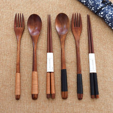 Wood Portable Tableware Wooden Cutlery Sets Travel Dinnerware Suit Environmental with Cloth Pack Gift(China)