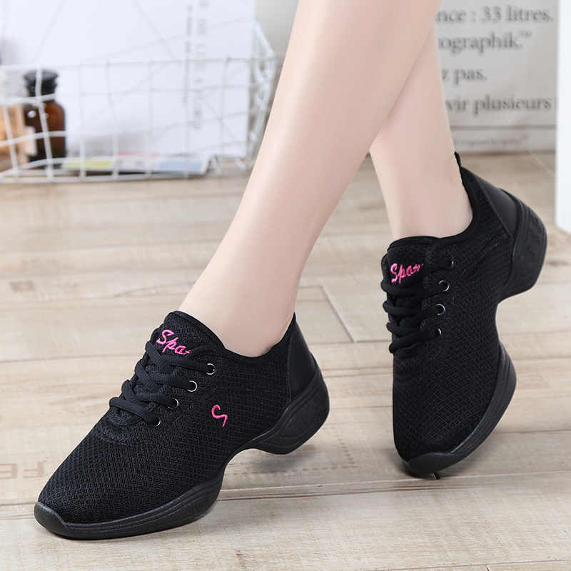 Dancing Shoes For Women Sports Feature Modern Dance Jazz Shoes Soft Outsole Breath Dance Shoes Female Practice Sneakers EU 34-41