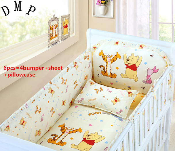 Promotion! 6PCS baby pieces crib baby bedding set HOT Cot bedding bed around piece set,include:(bumper+sheet+pillow cover) promotion 6pcs baby bedding set cot crib bedding set baby bed baby cot sets include 4bumpers sheet pillow