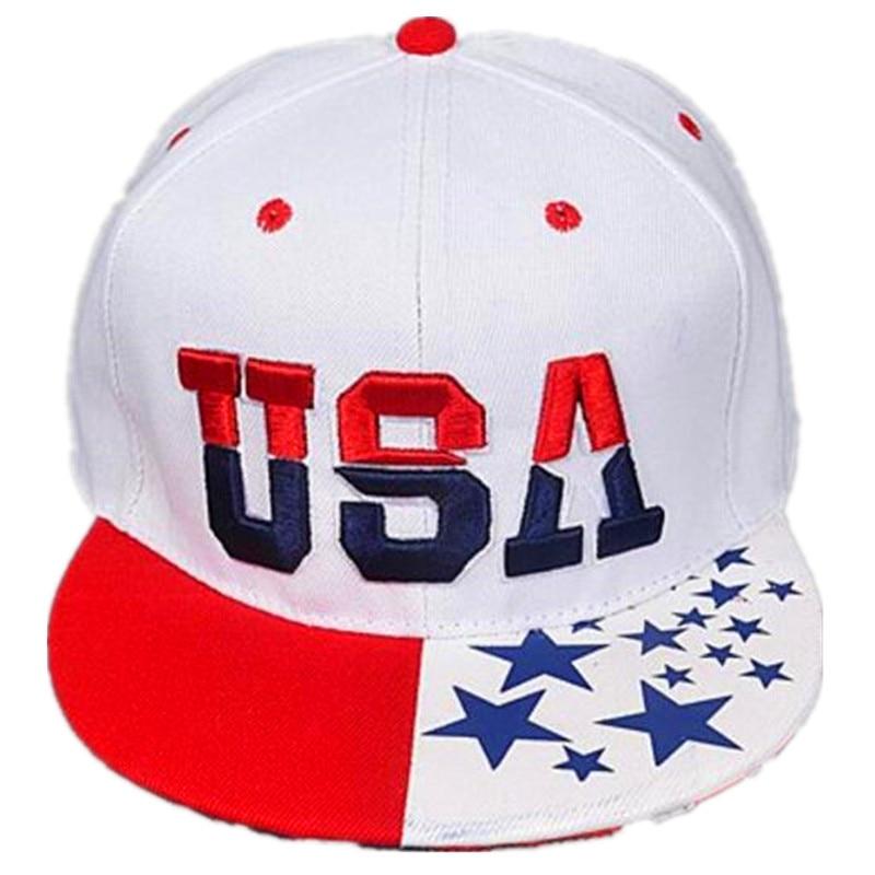 2018 Nova Bandeira Americana Snapback Chapéus Marca EUA Carta Algodão Bones  Gorras Hip hop Snapback Tampões Das Mulheres Dos Homens Boné de Beisebol em  ... da4a641c423
