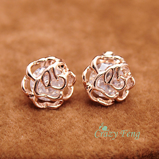 Fashion Woman Earrings 2018 Wedding Stud Rose Gold Color Flower Hollow Crystal Stone Female