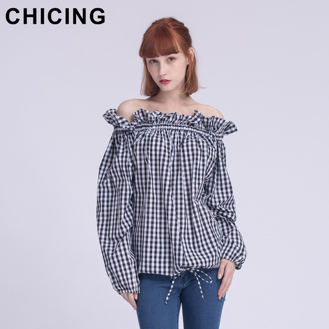 5104daaad351c5 CHICING Women Fashion Vintage Ruffles Off Shoulder Lantern Sleeves Plaid Shirt  2018 Ladies New Retro Elastic Blouse Top A1702022