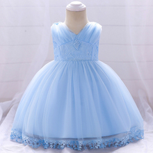 Summer Infant Baby Girl Clothes Baby Dress Pearl Girl Wear Sleeveless Princess Dress for Birthday Party Toddler Costume цена 2017