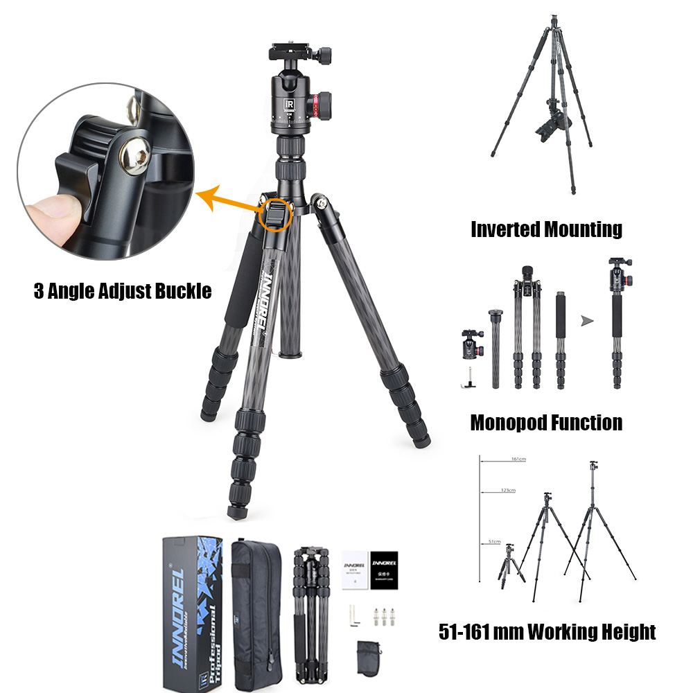 RT55C carbon fiber camera tripod 12kg bear video travel portable DSLR tripod 5 Sections with ball head for CANON NIKON