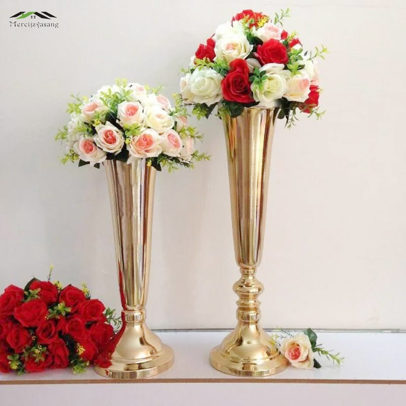 Aliexpress Com Buy 10pcs Lot 50cm 60cm Floor Vase Metal Flower Vase Table Centerpiece For