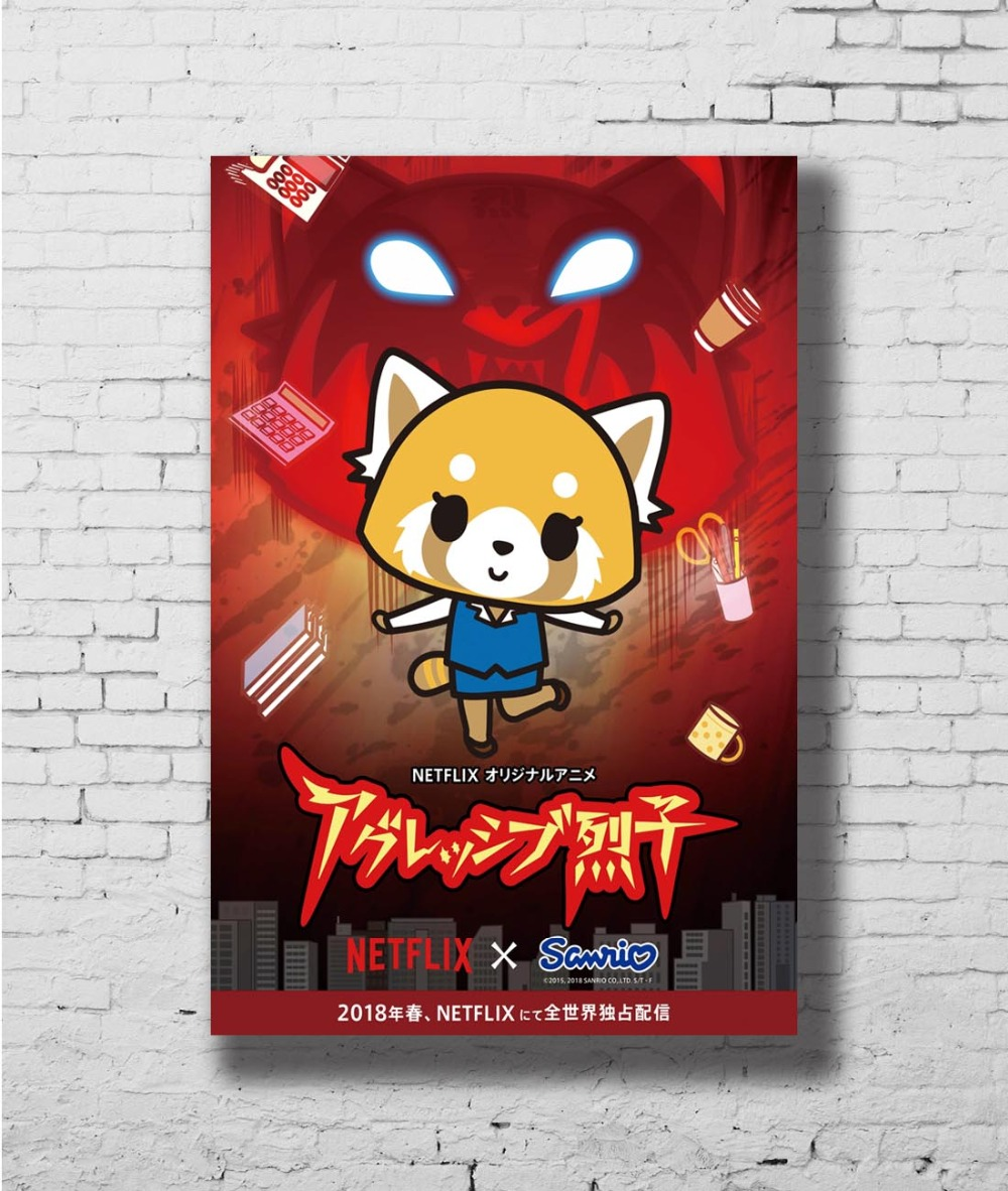 Aggretsuko Japanese Anime TV Show Series Wall Sticker Home Decoration Silk Art Poster image