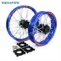 motorcycle 15mm Front 1.40 14 Rear 1.85 12 Alloy Wheel Rim with CNC Hub For motorcross Dirt Pit bike 12 14 inch Blue wheel