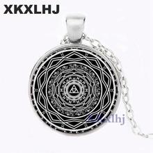 XKXLHJ Fashion Black Minimalist Buddhist Sri Yantra Unisex Necklace Sacred Geometry Crystal Cabochon Pendant Sri Yantra Jewelry