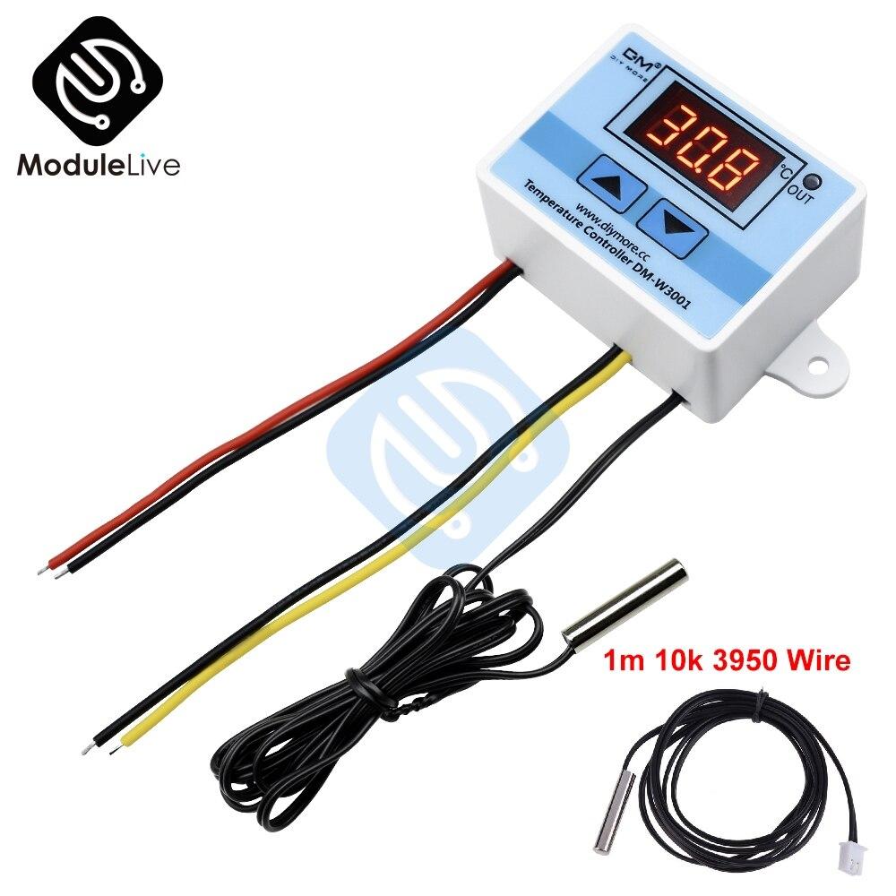 Xh-w3001 W3001 Temperatur Controller Digital Led Temperatur Controller Thermometer Thermo Schalter Dc 12 V/24 V/220 V Ntc 10 K Draht Wohltuend FüR Das Sperma Messung Und Analyse Instrumente