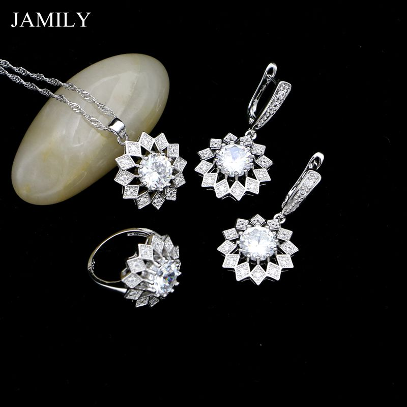 JAMILY White Crystal Silver 925 Jewelry Sets Earrings/Pendant/Ring/Necklace 2018 Fashion Jewellery Party Decoration For Women
