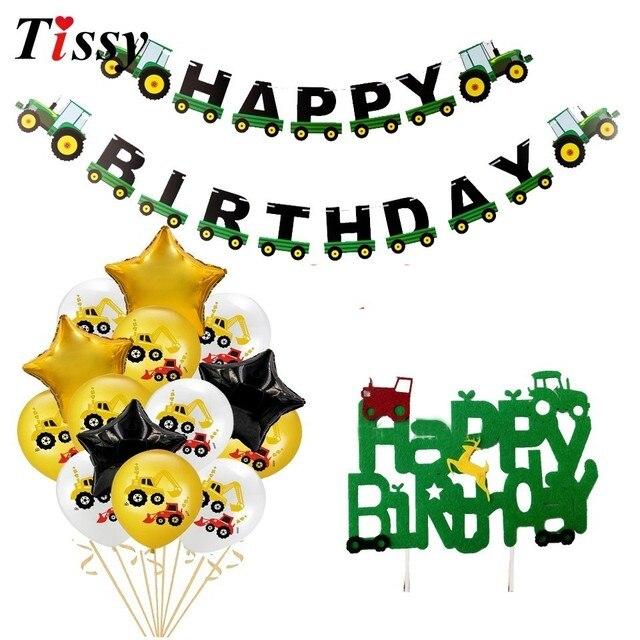 1 zestaw ciągnik budowlany temat nadmuchiwane balony ciężarówka pojazd banery ciasto wystrój Baby Shower chłopcy materiały urodzinowe