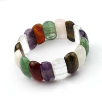 Mixed Natural Stone Beads Bracelet White Rock Quartz Amethysts Red Agates Tiger Eye Green Aventurine Jades
