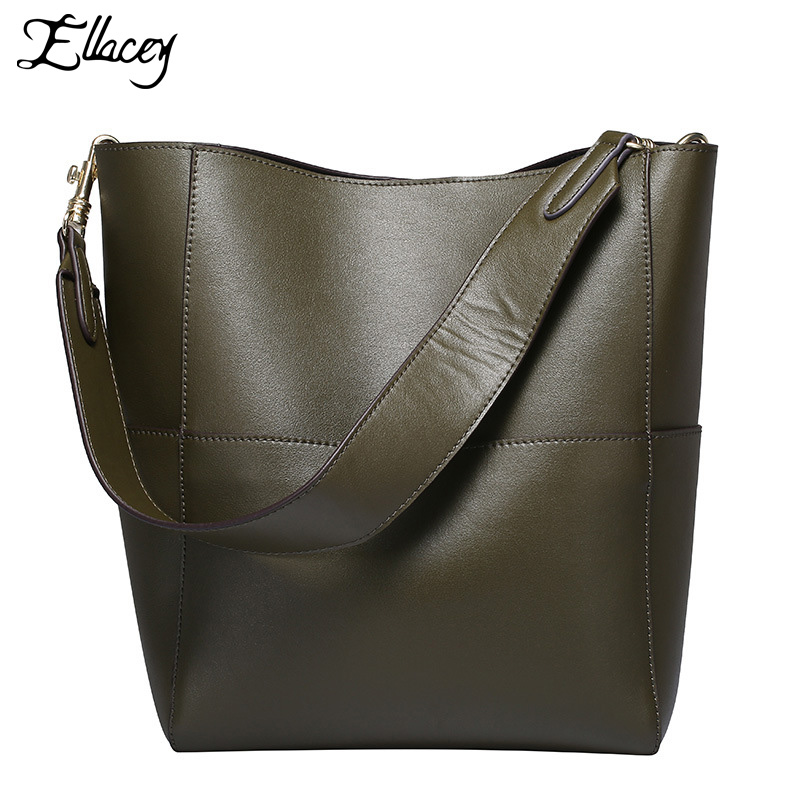 Ellacey Genuine Leather Bucket Bag Large Vintage Tote Bags Cow Leather Luxury Handbags Women Bags Designer Real Leather Handbag 2017 new arrival designer women leather handbags vintage saddle bag real genuine leather bag for women brand tote bag with rivet