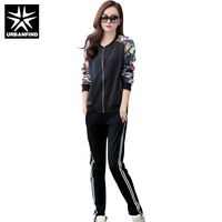Active Fashion Women Autumn Spring Clothing Sets Size L 4XL Flower Pattern Lady Casual Black Tracksuit