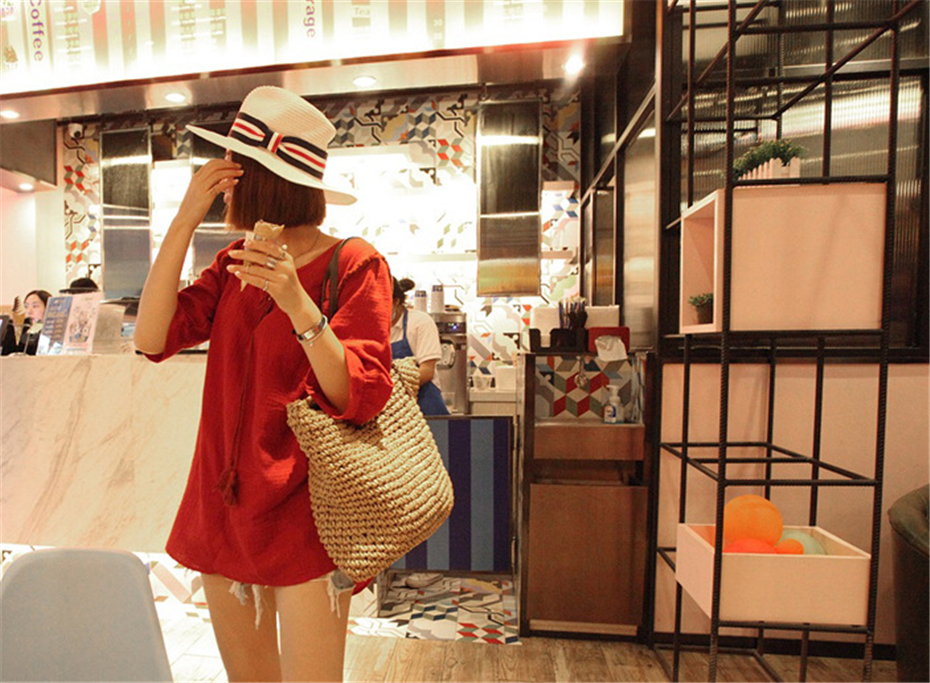 Women Handbag Summer Beach Bag Rattan Woven Handmade Knitted Straw Large Capacity Totes Leather Women Shoulder Bag Bohemia New 6