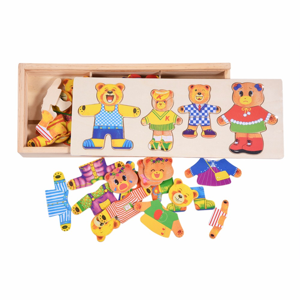 2018 Wooden Puzzle Toys Set Bear Changing Clothes Puzzles